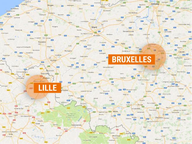 Carte d'interventions d'Accompagnement & Yoga : Métropole Lilloise et Bruxelles.